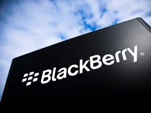 The BlackBerry logo is pictured at the BlackBerry campus in Waterloo